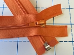 Bright Orange #5 Coil: 1way Separating Jacket Zipper - 26 & 30