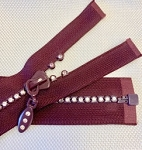 Plum with Crystals 1 way Separating Jacket Zipper