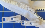 WHITE #10 Molded Tooth Zipper Yardage