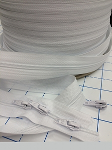 WHITE  #5 Zipper - 200 yard roll