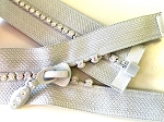 Silver with Crystals 1 way Separating Jacket Zipper