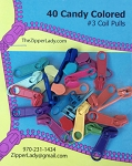 40 Candy Colored LONG Pulls for #3 Coil Zipper Tape