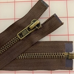 #8 Metal Zip on Brown - 20,26,30,36