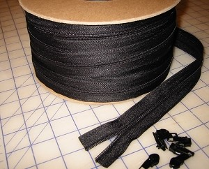 BLACK  #3 Coil Zipper - 50 yd. spool