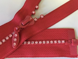 Red with Crystals 1 way Separating Jacket Zipper