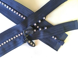 Navy with Crystals 1 way Separating Jacket Zipper