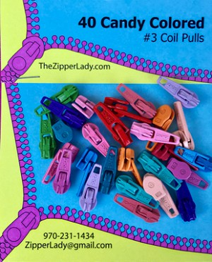40 Candy Colored Short Pulls for #3 Coil Zippers