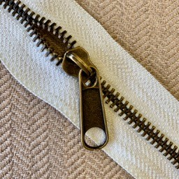 #5 Antique Brass on White Zipper By the Yard